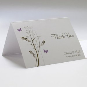 Romantic Butterfly Wedding Thank You Cards (Set of 6) image