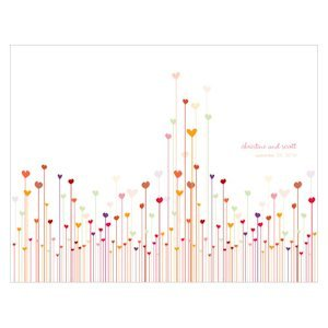 Personalized Hearts Wedding Program Paper (4 Colors) image