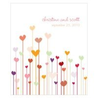 Personalized Hearts Rectangular Favor Stickers (4 Colors)