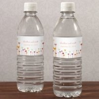 Cutomized Hearts Wedding Water Bottle Labels (Set of 10)