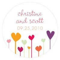 Personalized Hearts Round Favor Stickers (4 Colors)