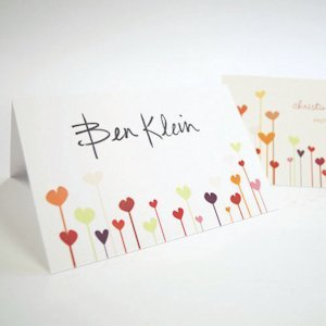 Personalized Hearts Wedding Place Cards (Set of 6) image