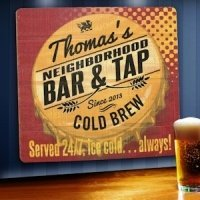 Personalized Served 24-7 Tavern Wood Sign