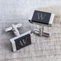 Personalized Faux Onyx Cuff Links