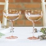 Personalized Blush Rose Gilded Rim Coupe Flutes