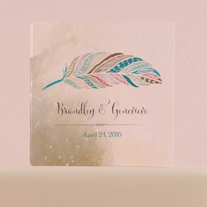 Feather Whimsy Personalized Clear Block Cake Topper image