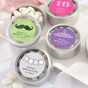 Round Birthday Party Candy Favor Tins (Set of 12) image