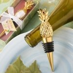 Gold Pineapple Themed Bottle Stopper Favor