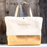 Personalized Metallic Color Dipped Tote Bag (Gold or Silver)