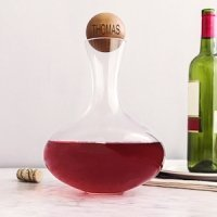 Personalized Large Wine Decanter with Wood Stopper