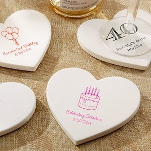 Personalized Birthday Heart Coaster Favors (Set of 12) image
