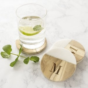 Personalized Marble & Acacia Wood Coasters (Set of 4) image