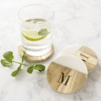 Personalized Marble & Acacia Wood Coasters (Set of 4)