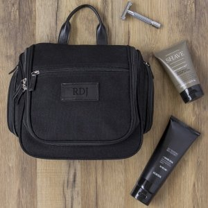 Personalized Waxed Canvas and Leather Hanging Toiletry Bag image