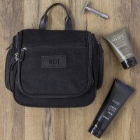 Personalized Waxed Canvas and Leather Hanging Toiletry Bag