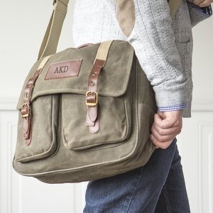 Personalized Men S Waxed Canvas And Leather Messenger Bag Image