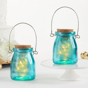Hanging Blue Jar With Fairy Lights (Set of 4) image