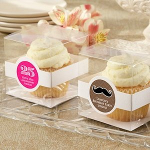 Clear Birthday Cupcake Favor Boxes (Set of 12) image