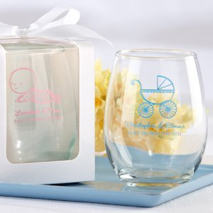 Personalized Stemless Baby Shower Wine Glasses (9 oz) image