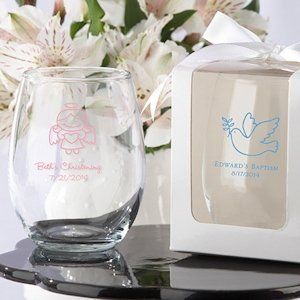 Personalized Stemless Baptism Wine Glass Favors image