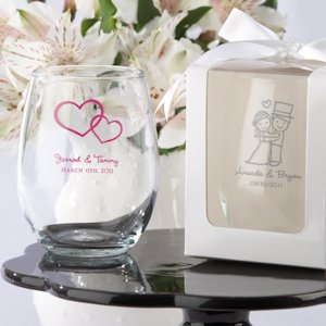 Personalized 9 oz Stemless Wedding Wine Glasses image