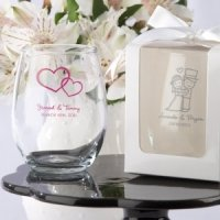Personalized 9 oz Stemless Wedding Wine Glasses
