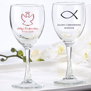 Personalized Christening Wine Glass Favors image