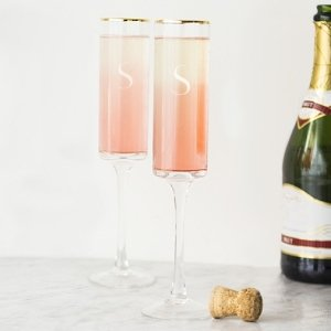 Personalized Gold Rim Contemporary Champagne Flutes image