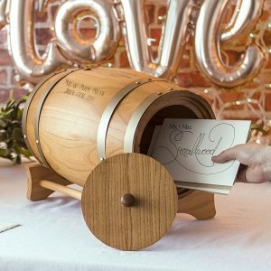 Personalized Wine Barrel Reception Gift Card Holder image