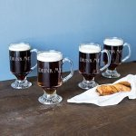 Personalized Irish Glass Coffee Mugs (Set of 4)