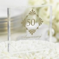 Golden 50th Anniversary Cake Top