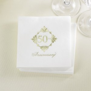 Golden 50th Anniversary Napkins image