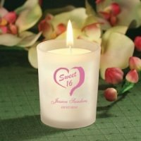 Custom Sweet 16 Frosted Glass Candle Favor