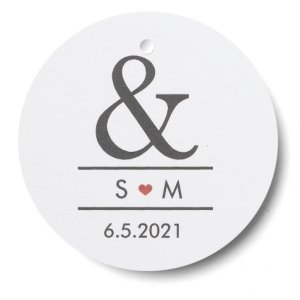 Ampersand & Heart Personalized Favor Tags - Set of 24 image