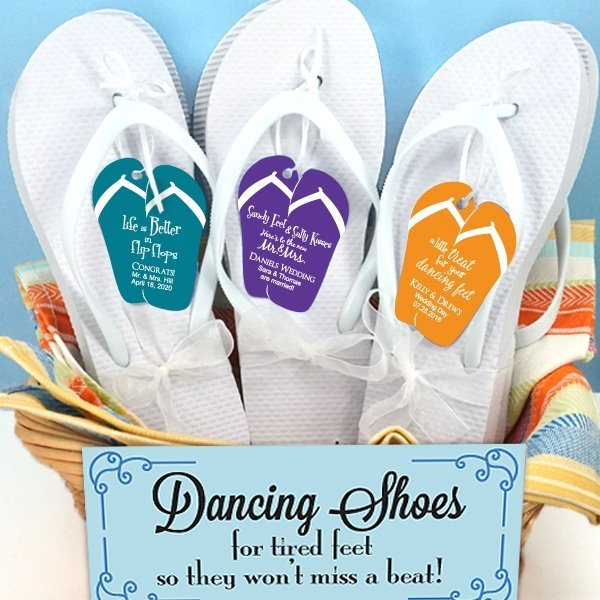 1da3cf48cc177 Custom Flip Flop Tag White Wedding Flip Flops (Set of 6) image