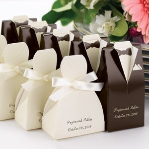 Personalized Brown Tux & Ivory Gown Boxes (Set of 25) image