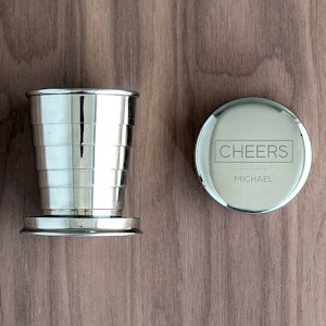 Personalized Cheers Stainless Steel Collapsing Shot Glass image