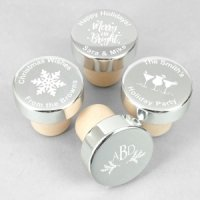 Silver Holiday Personalized Bottle Stopper