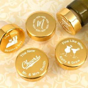 Personalized Gold Aluminum Top Bottle Stopper image