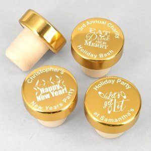 Golden Holiday Personalized Bottle Stopper Favors image