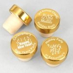 Golden Holiday Personalized Bottle Stopper Favors