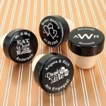 Personalized Black Aluminum Top Bottle Stopper