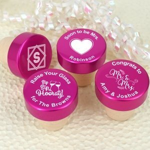 Personalized Pink Aluminum Top Bottle Stopper image