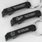 Personalized Black Aluminum Keychain Bottle Opener