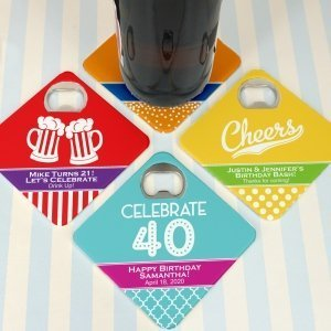 Adult Birthday Personalized Bottle Opener Coasters image