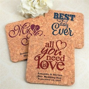 Personalized Square Cork Coasters (Many Designs) image