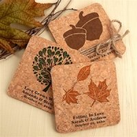 Autumn Design Cork Coaster Favors (Many Designs)