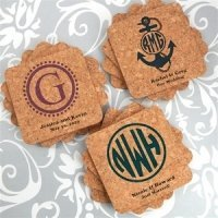 Personalized Monogram Square Cork Coasters (Many Designs)