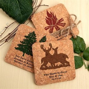 Woodland Rustic Personalized Square Cork Coasters image