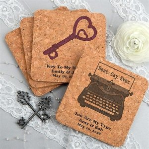 Personalized Vintage Design Square Cork Coasters image